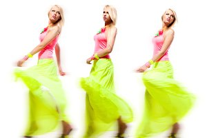 woman in bright clothes in motion