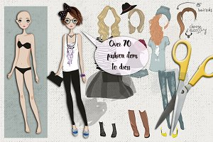 Paper doll with clothes for changes