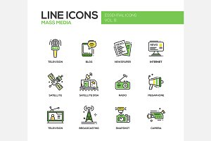 Mass Media - Line Icons Set