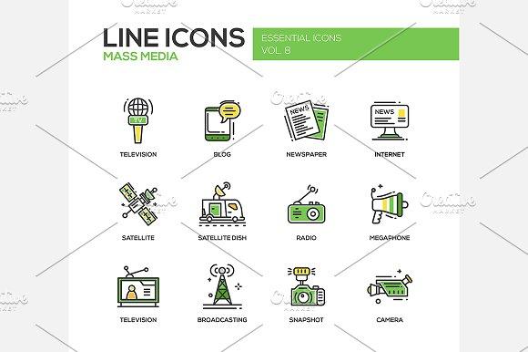Mass Media - Line Icons Set