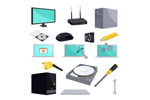 Computer repair icons set