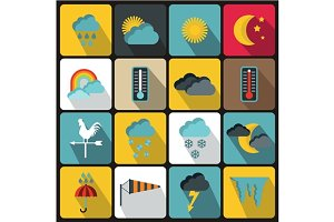 Weather icons set, flat style