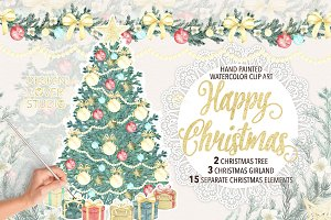 "Watercolor ""Christmas tree"" cliparts"