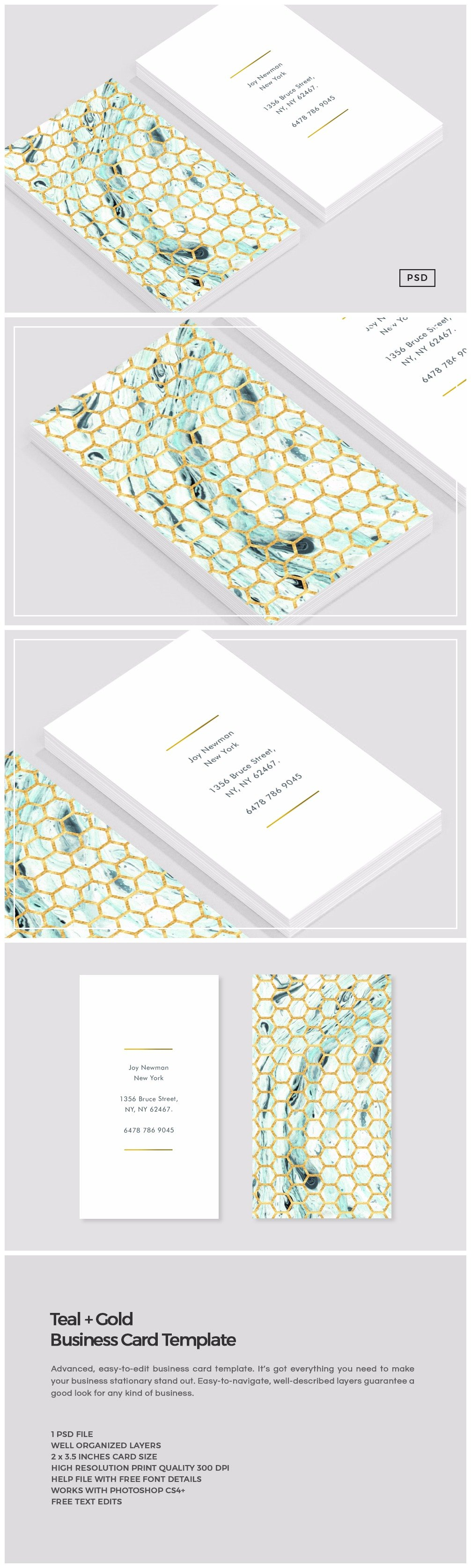 Fresh stock of business card template photoshop business cards teal gold business card template business card templates alramifo Image collections