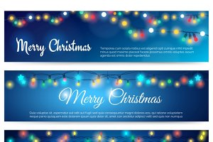Merry Christmas banners with garland