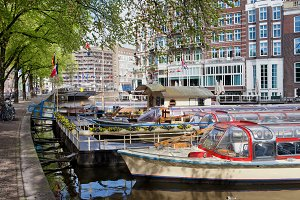Tour Boats on Canal in Amsterdam