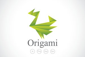 Flappy Origami Paper Logo Template