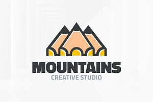 Pencil Mountains Logo Template