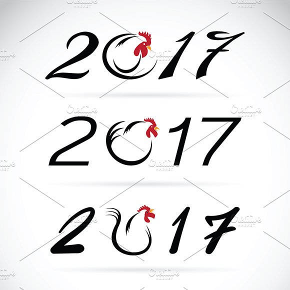 year of the rooster. 2017 - Icons