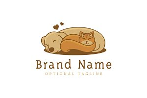 Cat & Dog Friendship Logo