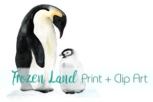 Frozen Land Watercolor Print+ClipArt