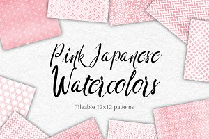 Baby Pink Watercolor Japan Patterns
