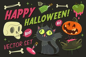 Happy Halloween. Vector set
