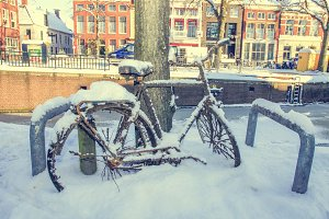 Rusty bicycle in the snow