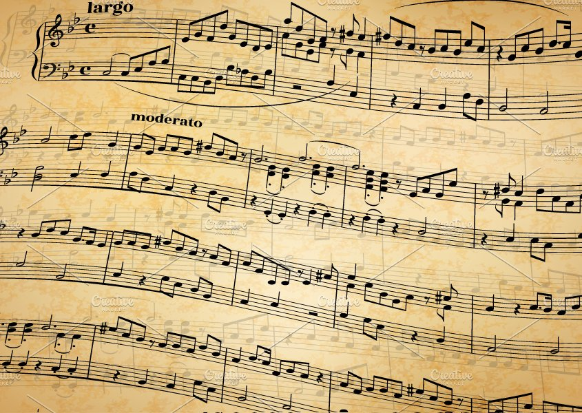 Music Notes On Old Paper Background