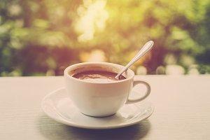 Hot coffee in garden