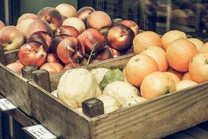 Fruit on a market shelf vintage desaturated