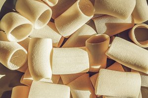 Paccheri pasta vintage desaturated