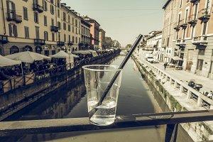 Naviglio Grande Milan vintage desaturated