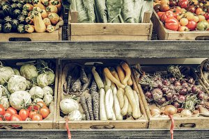Vegetables store vintage desaturated