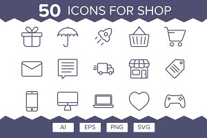 All For Shop (50 Outline Icons)