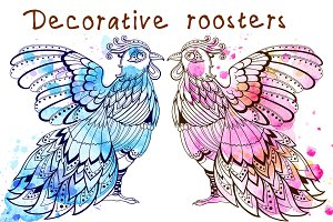 Blue and pink roosters