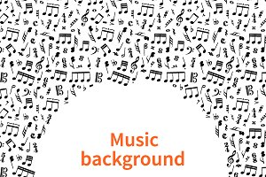 Background with music signs and text