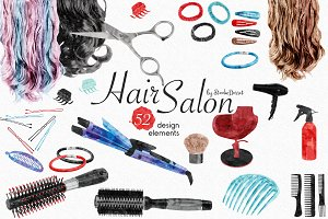 Hair Salon - Watercolor Elements