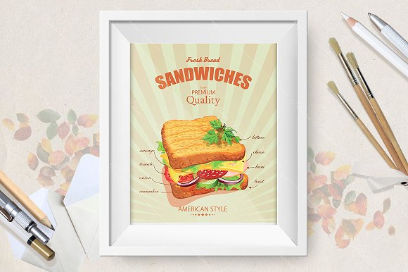 Sandwiches. American style. - Illustrations