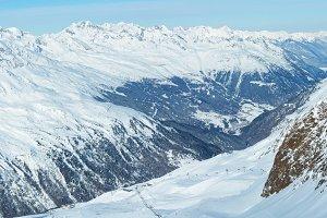 Winter mountain panorama.