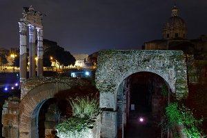Caesar Forum ruins in Rome, Italy.