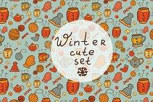 Winter cute patterns + elements.