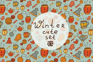 Winter cute patterns + elements.