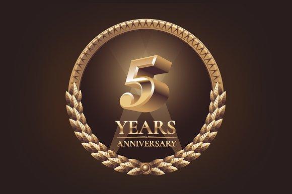 5 Years Anniversary Vector Logo Illustrations Creative Market