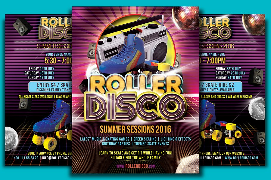 roller disco flyer template flyer templates creative market