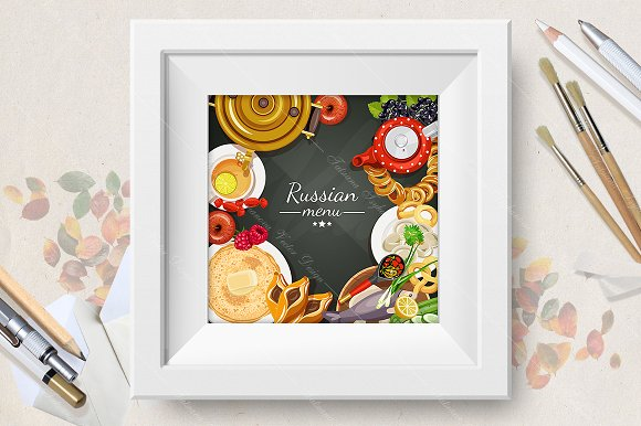Russian menu background. Cuisine - Illustrations