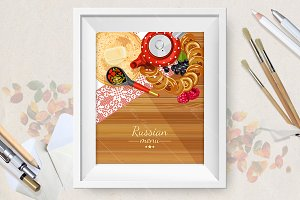 Russian menu background. Cuisine