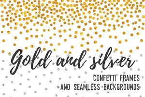 Gold and silver confetti backgrounds