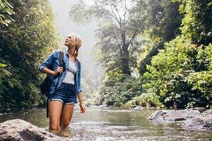 Female hiker standing