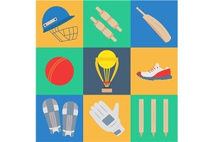 Cricket game vector icons