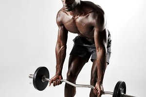 Male bodybuilder exercising
