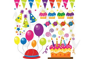 Retro Birthday Party Clip Art