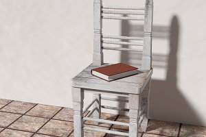 Chair and book