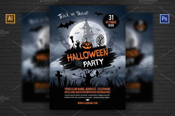 halloween party flyer template flyer templates creative market