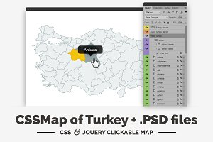 Turkey - CSS & jQuery clickable map