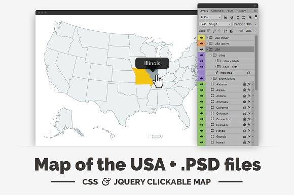 United States - clickable map ~ Web Elements ~ Creative Market