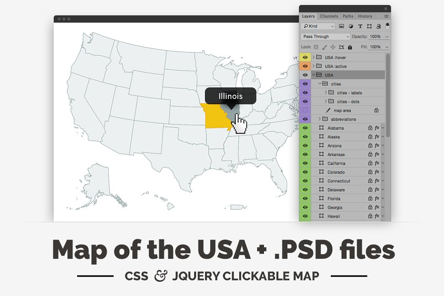 United States - clickable map ~ Web Elements ~ Creative Market