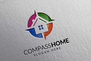 Compass home logo, real estate,home