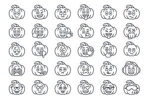 Halloween Pumpkin Thin Line Emoji
