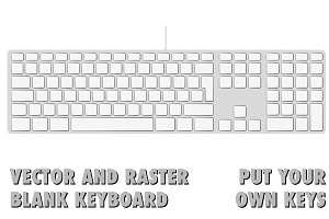 Blank extended aluminum keyboard